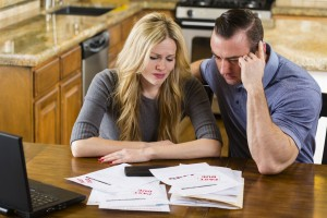 couple struggling to make bankruptcy payments