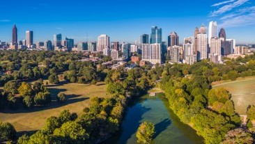 Aerial view of the Atlanta, Georgia Skyline