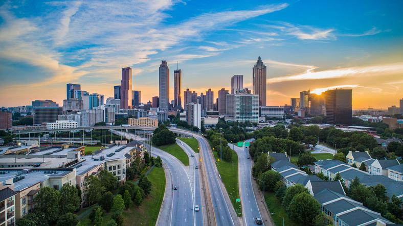 Atlanta Georgia GA Downtown Skyline Aerial Panorama.